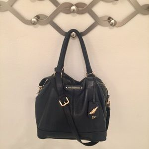 👜 DVF Drew East West Leather Satchel Navy
